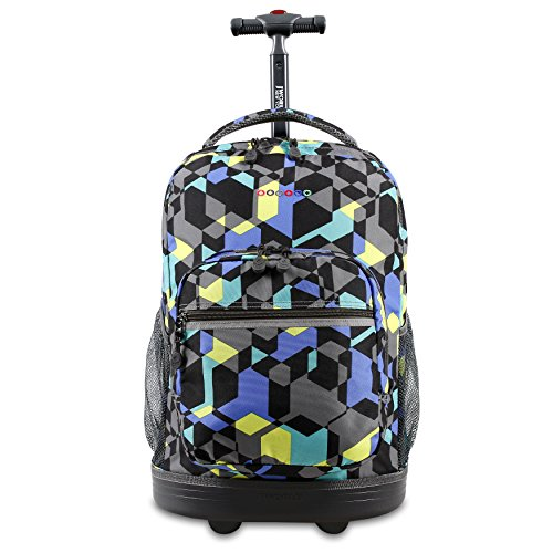 J World New York Sunrise Rolling Backpack, Cubes, 18'