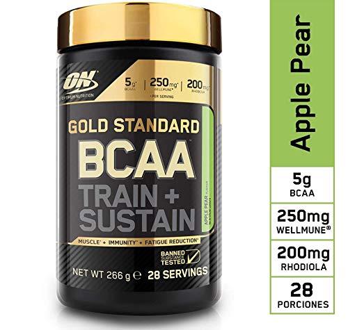 Optimum Nutrition ON Gold Standard BCAA Polvo, Suplementos Deportivos con Aminoacidos, Vitamina C y Magnesio para Musculation, Manzana y Pera, 28 Porciones, 266g
