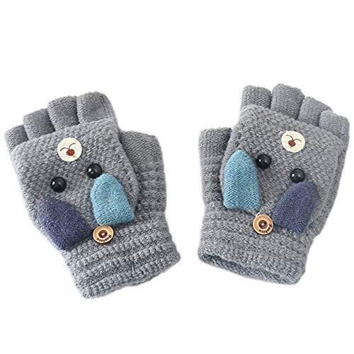 MAGIMODAC Halbfinger Handschuhe mit Klappe Kappe Mädchen Jungen Winter Fäustlinge Strickhandschuhe Winterhandschuhe Fingerlos Kinder (Hündchen Grau)