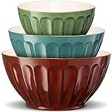 KooK Color Ceramic Mixing/Serving Bowls, Large, Medium, Small, Nesting, Set of 3