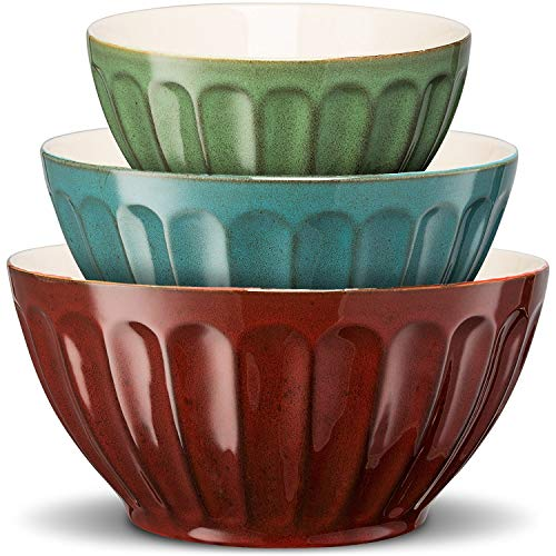 KooK Color Ceramic Mixing/Serving Bowls, Large, Medium, Small, Nesting, Set of 3