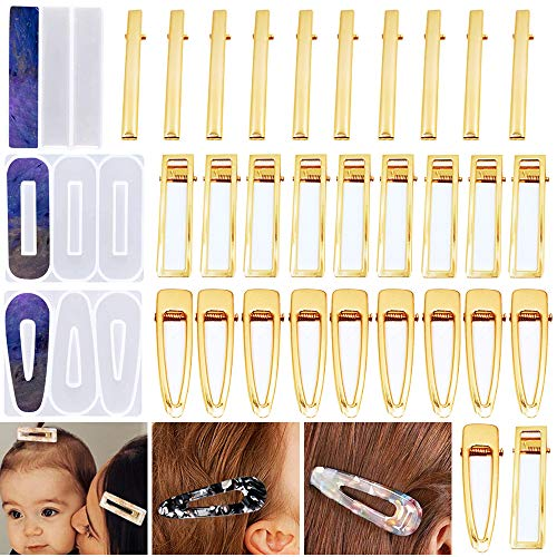 Hårklämma hartsformskit - 3 st silikon hårnål gjutformar och 30 st hårklämmor i 3 typer för hårnålstillverkning