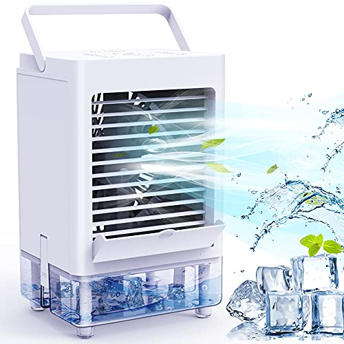 Portable Air Conditioner Fan with 3 Wind Speeds, 5000mAh Rechargeable Battery Personal Air Cooler with 1/2/4/8H Timer, Ice Air Cooler Fan for Home Office Bedroom Outdoor