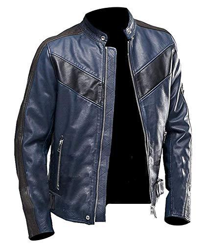Mens Vintage Blue Retro Cafe Racer Biker Black Stripes Motorcycle Leather Jacket