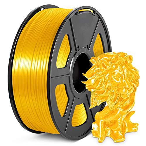 PLA Silk Filament 1.75mm, 3D Printer Filament, Shiny Metallic PLA Silk, 1KG Spool, Silky PLA Gold