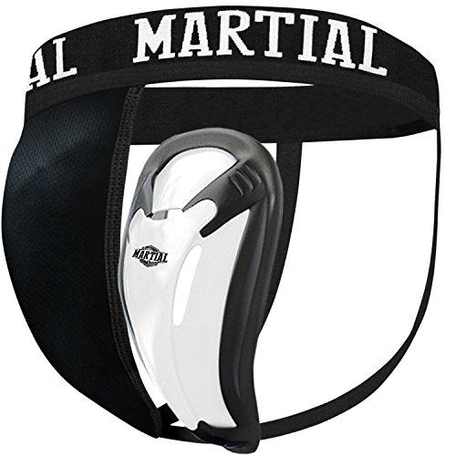 Protezione inguine Martial con 2 Taglie per Una vestibilità Perfetta! Protezione genitale con Elevata libertà di Movimento per Arti Marziali! Miglior Protezione con Cintura Elastica!