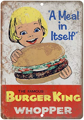 Placa de metal para pared, diseño de Dafony Burger King Whopper