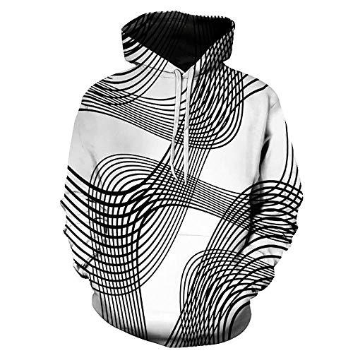 MUJOELE Camiseta de manga corta con capucha para hombre, diseño a rayas rayas L
