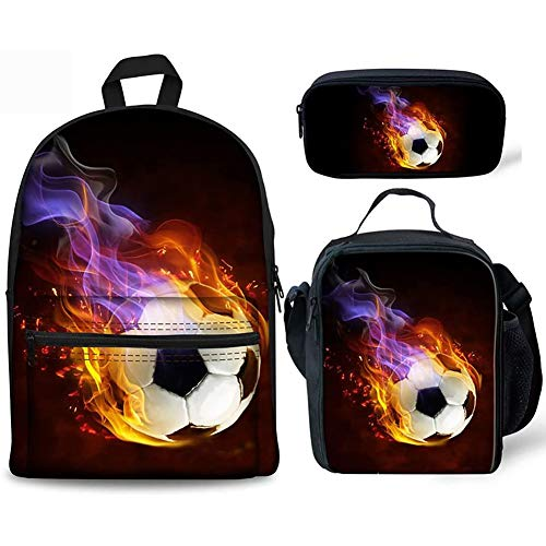 Children Backpack Set with Lunch Bag + Pencil Case Football Printed Kids Schoolbag with Earphone Hole for 6-12 years old Primary Students,A