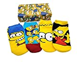 Global Felicity Simpsons Baumwollsocken Sneaker Socken mit Geschenkbox I Größe 36-39 I Unisex für Damen & Herren I 4 Paar Homer, Bart, Marge, Lisa Strümpfe I Cartoon I Geschenkidee