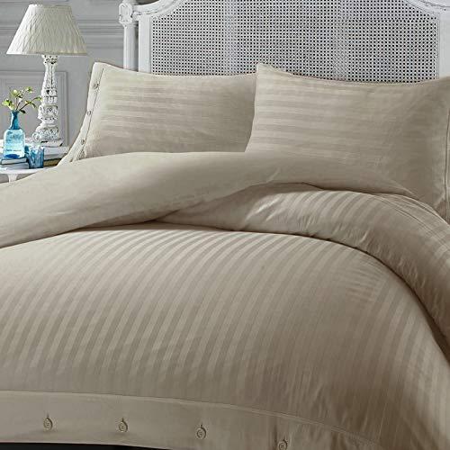 Nimsay Home - Set copripiumino per letto matrimoniale, in rasatello di cotone egiziano 100% rasatello di raso a righe morbido al tatto, colore: visone