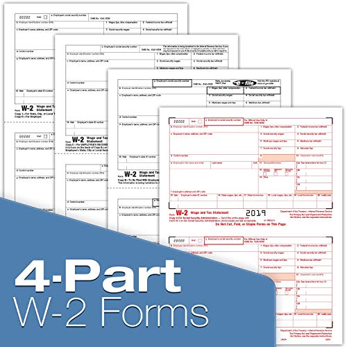 W-2 Tax Forms 2019 - Tangible Values 4-Part Laser Tax Form Kit with Envelopes - Accounting & QuickBooks Software Compatible, 50 Pack Photo #4