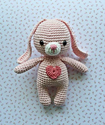 Häkeltier Hase Mini hellrosa aus Baumwolle Handarbeit