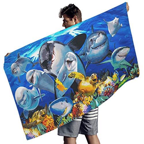 Yrgdskuvle Toalla de playa extragrande con diseño de delfín submarino y arena para camping, picnic, viaje, color blanco, 150 x 75 cm