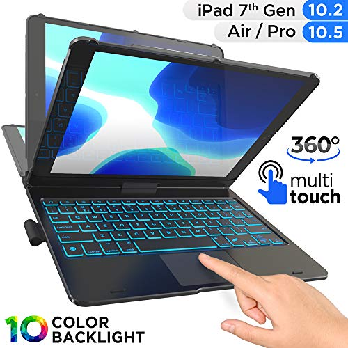 TYPECASE Touch - iPad 7th Generation Case with Keyboard, Touchpad & Apple Pencil Holder - Magic Keyboard Style Trackpad & Smart Backlit Keys for iPad 10.2, iPad Air 3 & iPad Pro 10.5 (Black)