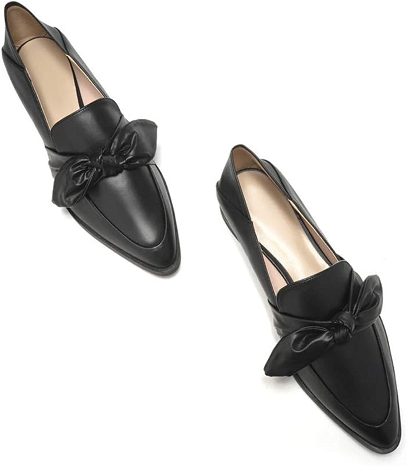 238dhdf3effggf New Pointed Low-Heeled Korean Version of Lok Fu shoes a Pedal Bow Lazy shoes