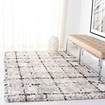 SAFAVIEH Fontana Shag Collection FNT868F Modern Grid Non-Shedding Living Room Bedroom Dining Room Entryway Plush 2-inch Thick Area Rug, 10' x 14', Grey / Ivory