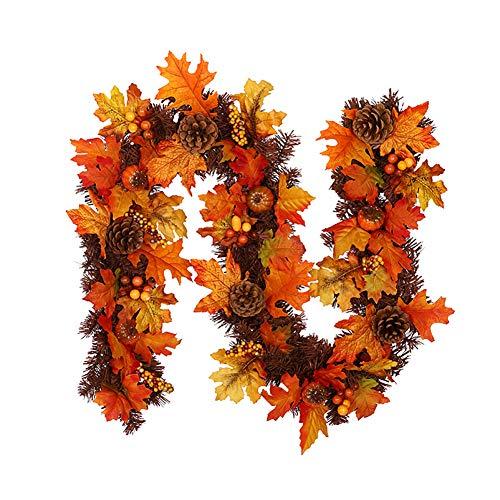 Ahornblätter Girlande Tannenzapfen Ahornblatt Rattan Tür hängen Herbst Kürbis Beerenkranz Home Wall Thanksgiving/Halloween/Weihnachtsdekoration