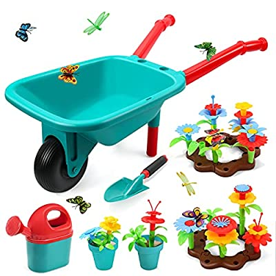 CUTE STONE Kids Gardening Tool Set, Garden Toys with Wheelbarrow, Watering Can, Shovel, Flower Garden Building Toy, Pretend Play Outdoor Indoor Toy, Activities STEM Toy Gifts for Boys & Girls from Cute Stone