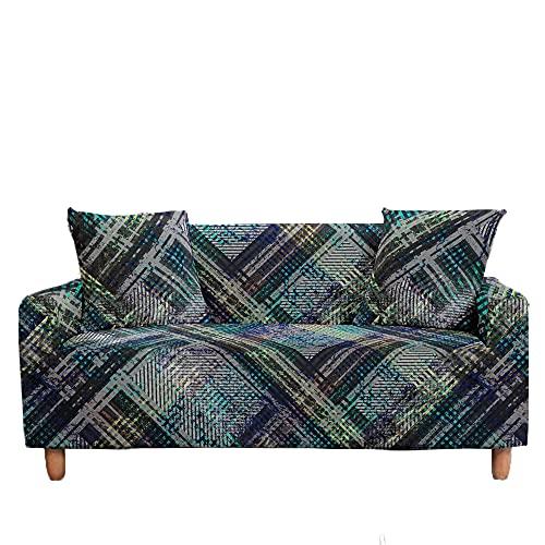 Meiju 3D Fundas de Sofá Elasticas de 1 2 3 4 Plazas, Geometría Ajustables Cubierta de Sofá Cubre Sofa Antideslizante Funda Cubre Sofas Furniture Protector (Abstractos,4 plazas - 235-300cm)