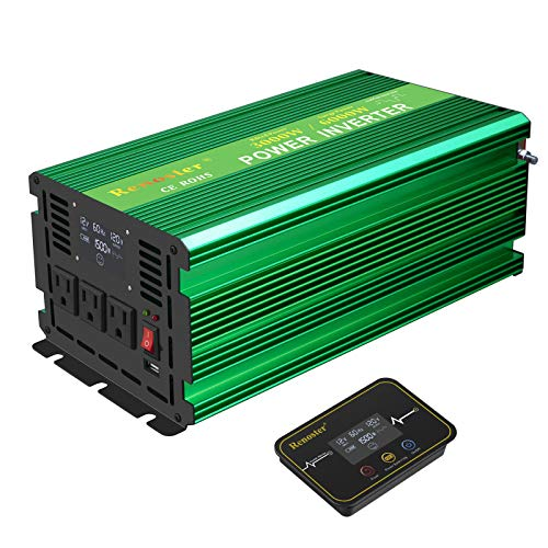 Renoster Power Inverter DC 12V to AC 120V with LCD Display Wireless Rechargeable Remote Control, Modified Sine Wave Car Power Converter with 3 AC Outlets 2.1A USB for RV Outdoor Camping (3000W Green)