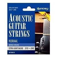 HISTORY AN1048-3S アコースティックギター弦 3セットパック EX-LIGHT (ヒストリー)