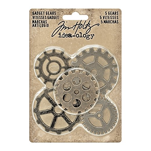 Tim Holtz Idea-ology Gadget Gears Embellishments 5/Pack, Antique Metal Finishes in Nickel, Brass, Copper (TH93297)