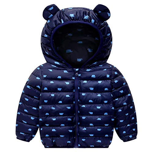 Kinderen winterjas met capuchon jongens meisjes licht jas warm outwear 1-4 jaar 12-18 Maanden donkerblauw