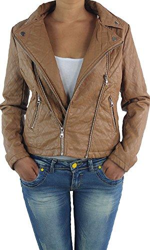 Damen Lederjacke Kunstlederjacke Leder Jacke Damenjacke Jacket Bikerjacke V2088 Braun S/36