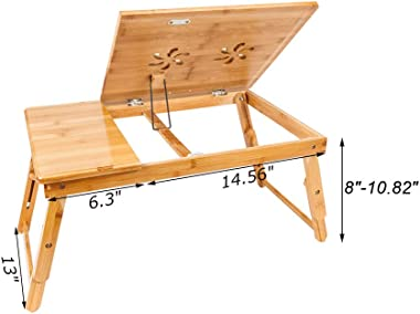 (Delivered from The United States) Height-Adjustable Laptop Desk, Foldable Laptop Desk, Stylish Double-Flower Carved Pattern, Adjustable Bamboo Computer Desk-Wooden (A)