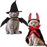 SATINIOR 4 Pieces Halloween Pet Costume Pet Vampire Costume Pet Bat Wings Vampire Cloak Witch Hat Red Horns for Cat Dog Halloween Cosplay