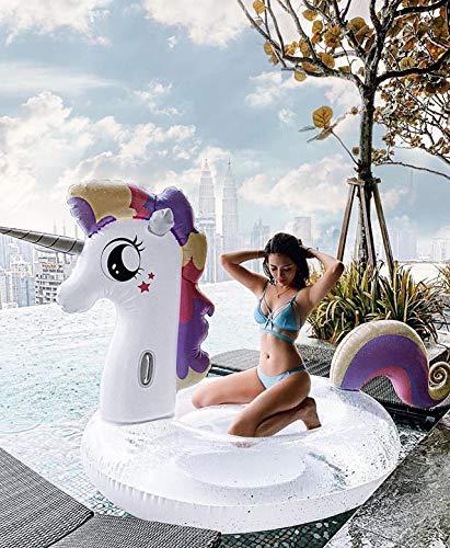 Vercico Gigante Inflable Transparente Unicornio con Lentejuelas Unicornio Colchón Juguete Adultos Niños, Unicornio Flotante Cama Inflable Piscina