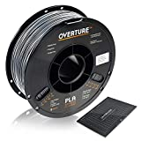 OVERTURE PLA Filament 1.75mm with 3D Build Surface 200mm x 200mm 3D Printer Consumables, 1kg Spool (2.2lbs), Dimensional Accuracy +/- 0.05 mm, Fit Most FDM Printer, Space Gray