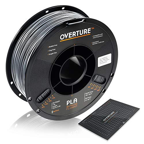 Overture PLA Filament 1.75mm with 3D Build Surface 200mm × 200mm 3D Printer Consumables, 1kg Spool (2.2lbs), Dimensional Accuracy +/- 0.05 mm, Fit Most FDM Printer, Space Gray