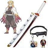 Demon Slayer Blade Rengoku Kyoujurou COS Wooden Swords Anime Lovers Cosplay Katanas Weapon Decorative Props Rengoku Sword Toys for Kids - with Sword Belt & Key Charm (80 cm)