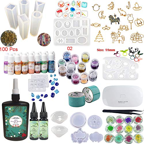 310ML Résine Epoxy (250 + 2X30 1 Lampe Tweezer 24 Décoration 13 Moule en Silicone 100 Anneaux 15 Pigment Liquide de Couleur Nacrée 17 Bijoux en Métal