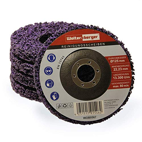 Woltersberger® 5 Stück Grob Reinigungsscheiben Ø115mm CSD Reinigungsvlies CBS Nylon Lila | purple für Winkelschleifer