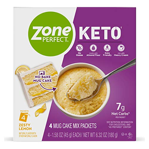 Zone Perfect Keto Mug Cake, Gluten-Free No Bake Mug Cake Mix, Keto-Friendly Snack with 9g Net Carbs as Prepared, Great Taste Guaranteed, Zesty Lemon, 16 Packets, 6.32 Ounce