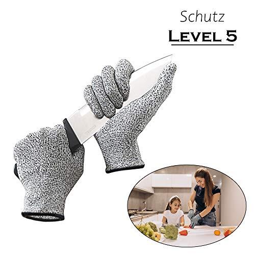 Ecotal Premium Schnittschutzhandschuhe, mit Level 5 Schnittschutz, schnittsichere Handschuhe für Erwachsene und Kinder, XS bis XL (L)