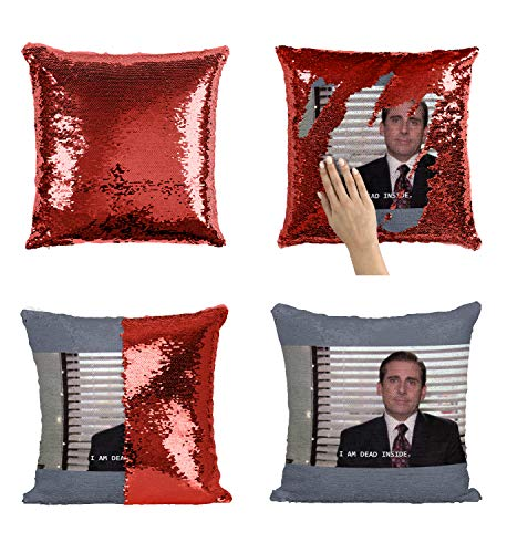 Office The TV Show Michael Scott Dead Inside Meme_MA0007 Sequin Pillow Oreiller, Funny Throw Covers, Sequins Pillows, Weird Stuff, Unicorn, Flip Mermaid Scales Reversible (Cover Only)