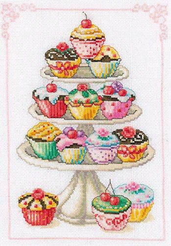 Vervaco - Kit para Cuadro de Punto de Cruz, diseño de Cupcakes, Multicolor
