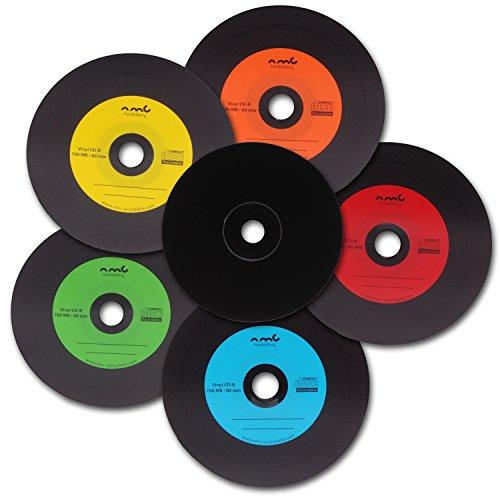 NMC, 25 CD-R, dischi in vinile, in carbonio colorato, parte posteriore completamente nera, CD vuoti da 700 MB