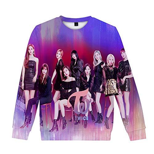 Twice T-Shirt Populaire Style d'université Pull 3D Top imprimé for Hommes et Dames à Manches Longues T-Shirt (Color : A03, Size : Height-170cm(Tag M))