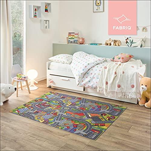 Fabriq Alfombra de juego para niños y niñas, antideslizante, para habitación infantil y de juegos, lavable a 30 °C, 140 x 200 cm, Smart City