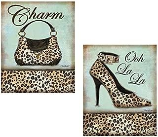 Set of 2 Leopard Animal Print Shoe Heel Pump Purse Cute Trendy Fashion Accessories Cheetah Set Art Prints Posters 11x14 Inches