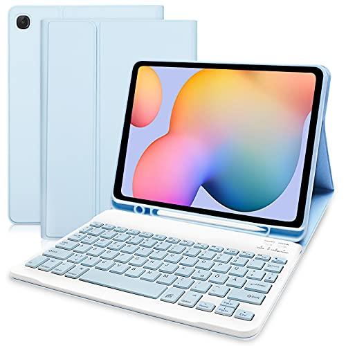 Hofsos Hülle mit Tastatur für Samsung Galaxy Tab S6 Lite - Schutzhülle mit Pencil Halter Wireless Abnehmbare Tastatur (Deutsches QWERTZ) für Samsung Galaxy Tab S6 Lite 10.4 (P610/P615) (Himmelblau)