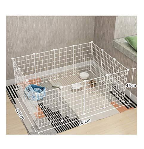 GBY Haustierzaun, Haustiergeländer aus Metall, Faltbarer Haustierzaun, kann als Haustierzaun verwendet Werden, geeignet für kleine und mittlere Hunde und Katzen, weiß, 147 * 111 * 47 cm