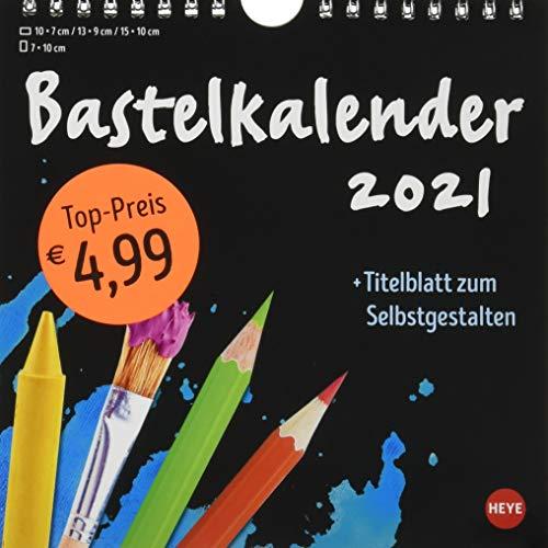 Bastelkalender 2021 schwarz klein - mit Titelblatt zum Selbstgestalten und Monatskalendarium - Format 17,5 x 17,5 cm
