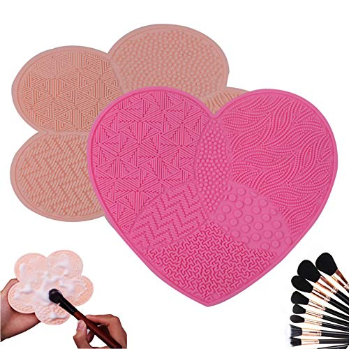 2 PackCosmetic Brush Cleaning Mat, Silicone Makeup Cleaning Brush Scrubber Mat, Portable Washing Tool Scrubber with Suction Cup, Brush Cleaners, makeup brush cleaner mat silicone(skin tone/pink)