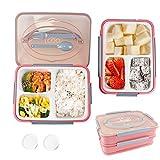 Lunch Boxes, doppio strato Bento Box con 3 comparti, contenitore per alimenti staccabile, microonde sicuro, per adulti e bambini alle attività all'aperto